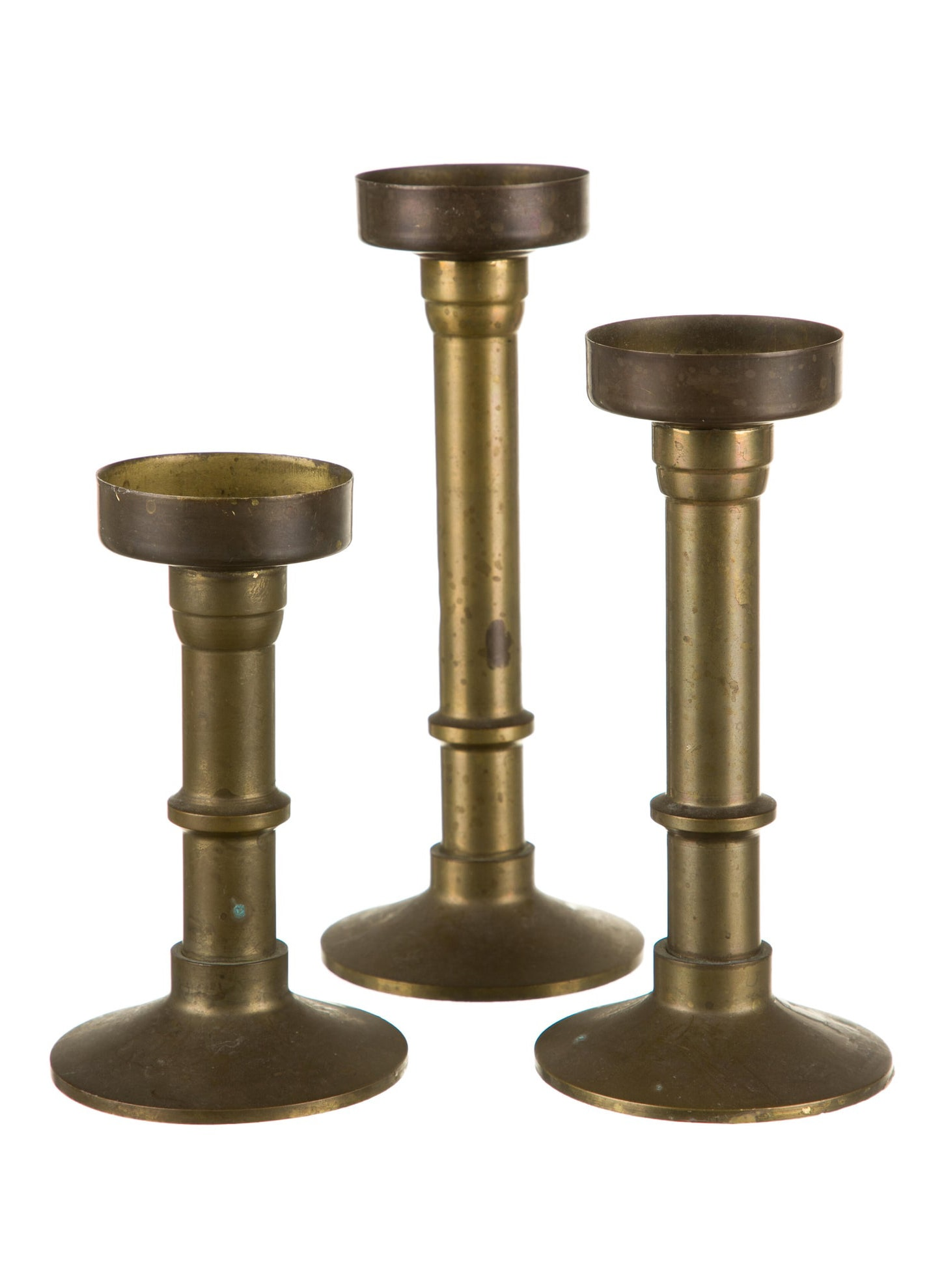 DECOR Vintage Brass Votive Candlesticks - Set Of 3