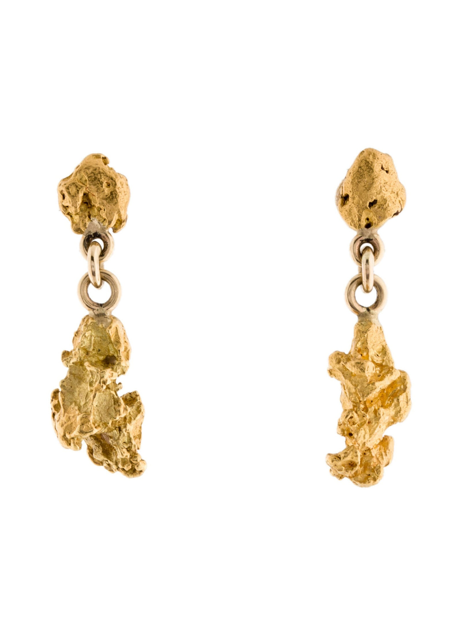 EARRINGS Gold Nugget Drop Earrings
