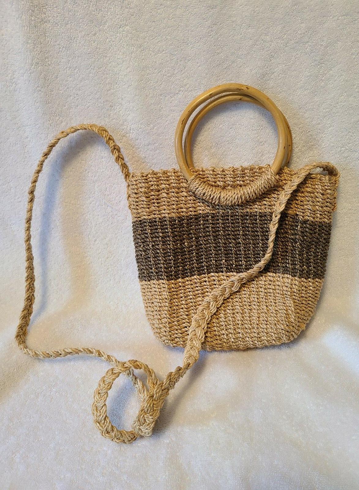 Esprit Vintage Beige & Brown Woven Straw Crossbody Bag Purse Braided Strap