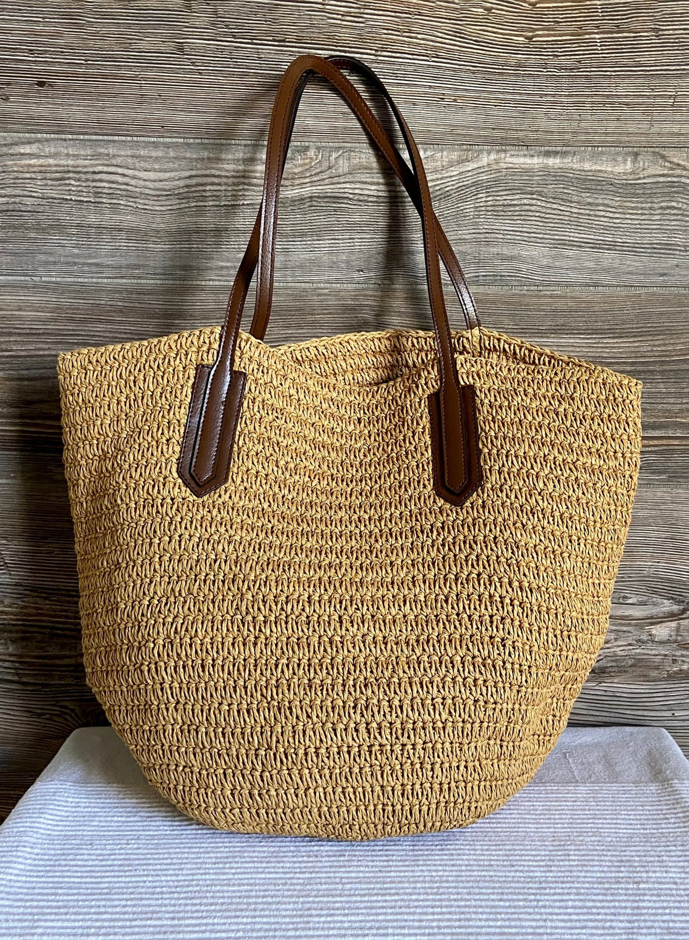 J CREW Woven Straw Shoulder Shopper Beach Bag Purse