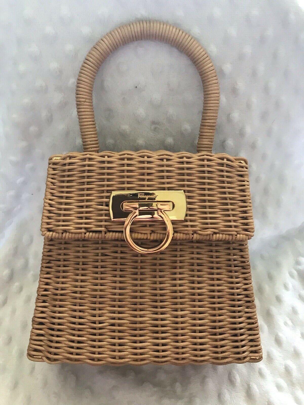 Salvatore Ferragamo Gancini Straw Hand Tote Bag Brown Vintage DO-216176
