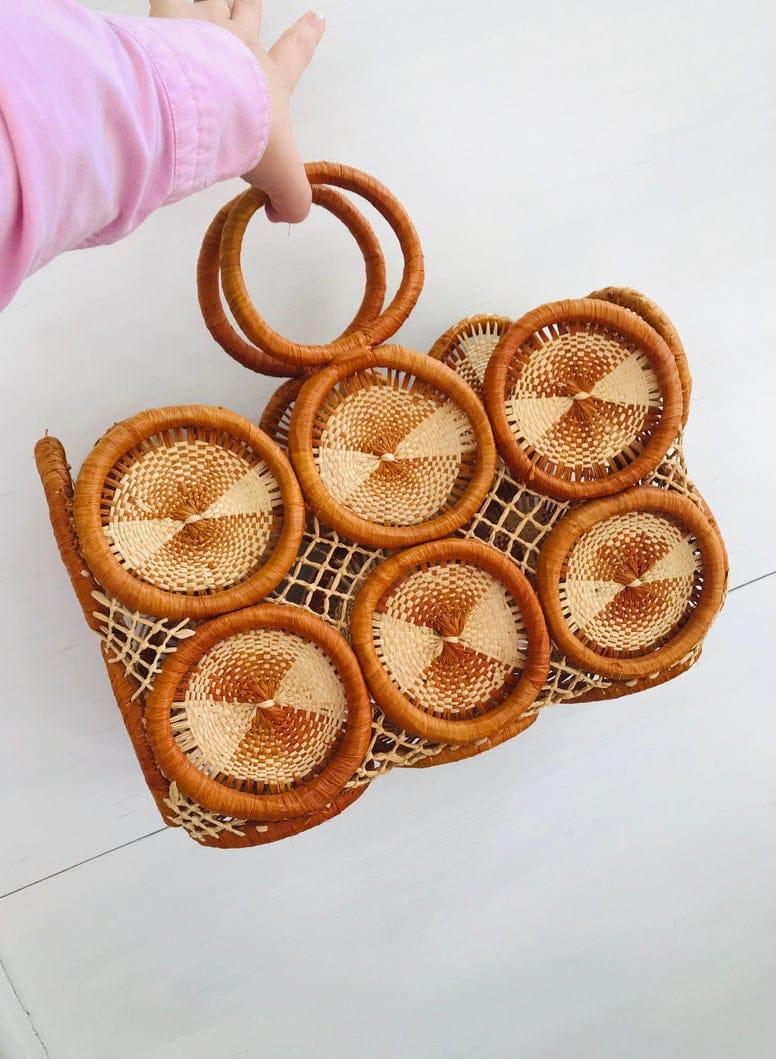 Vintage 1970s Woven Straw, Wicker, Handbag