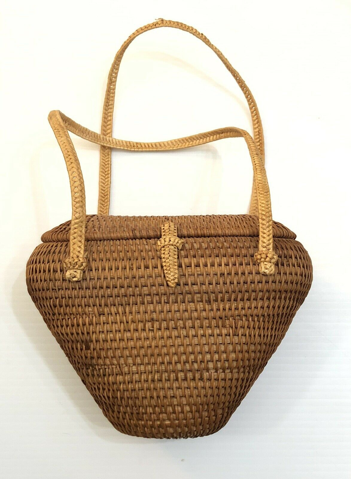 Vintage Hand Woven Hard Shell Brown Straw Bag Box Basket Style Handbag Purse