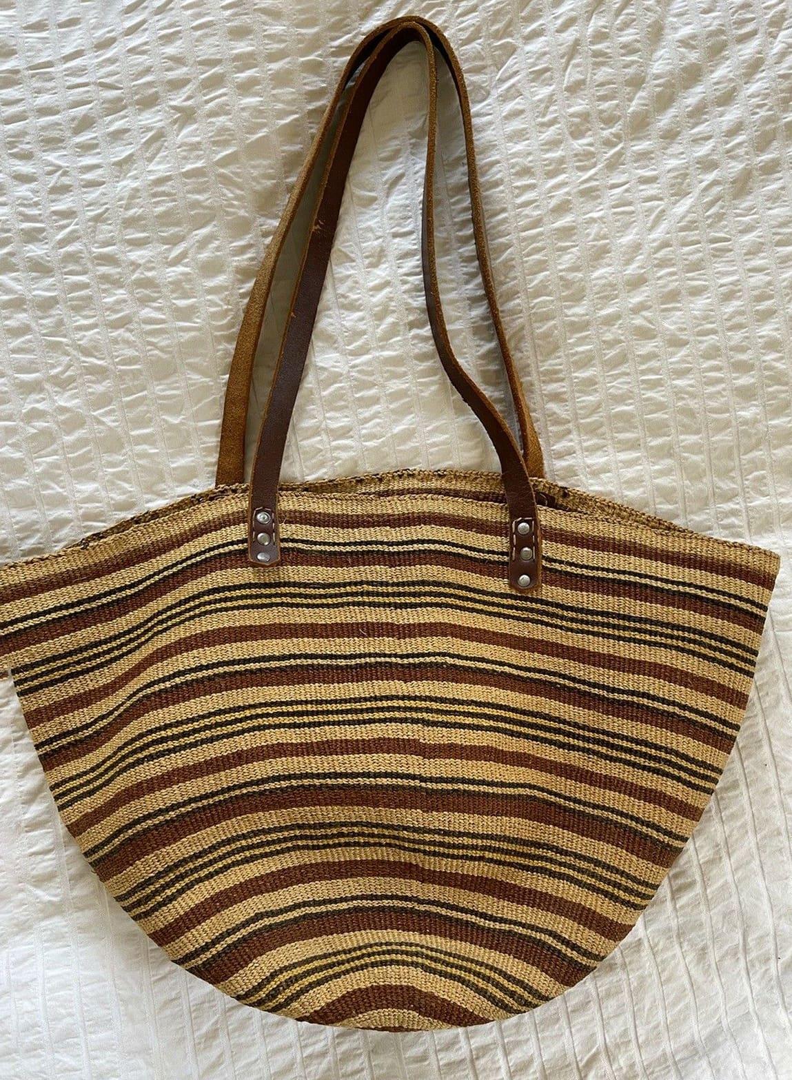 Vintage Market Bag Sissal Straw Bag Leather