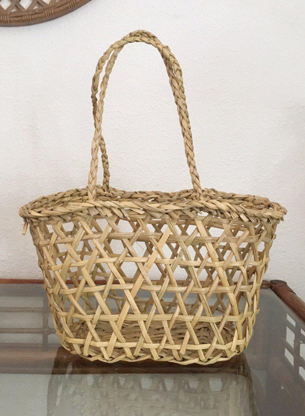 Vintage Summer Straw Tote Hand Purse - Beach Straw Tote Bag