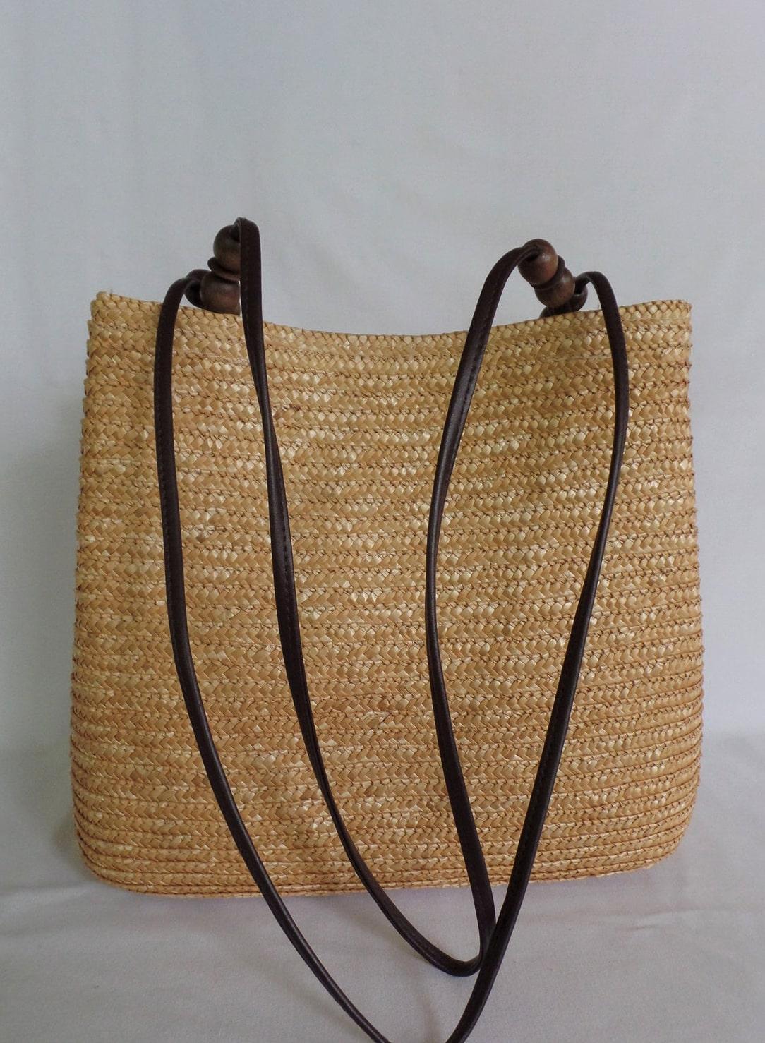 Vintage Woven Natural Straw Bucket Shoulder Bag Purse Handbag