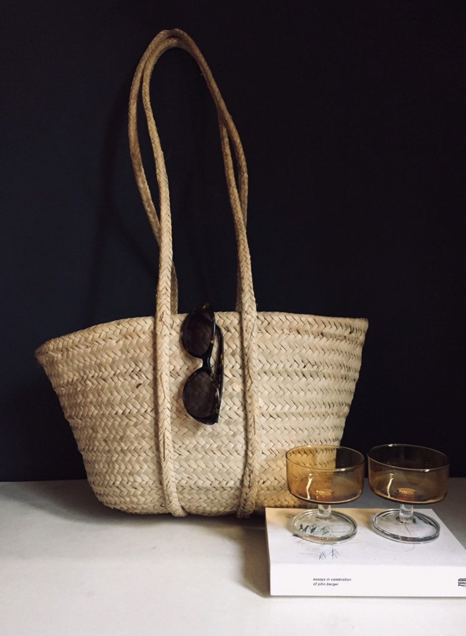 Vintage hand woven shopper basket