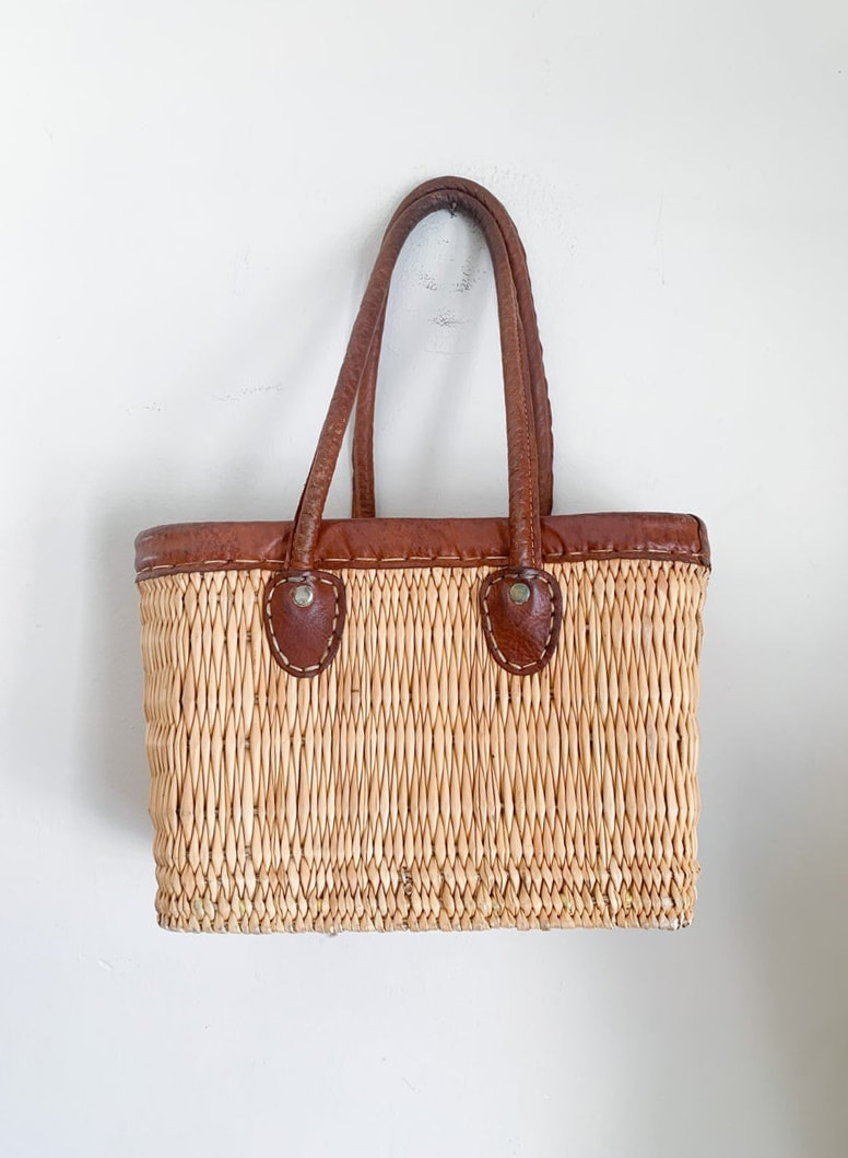vintage 1970s Basket Purse with leather handles