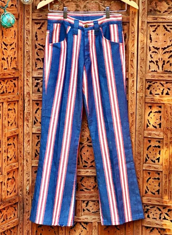 1970s Farah Rock 'n' Roll Striped Denim Straight Leg Pants