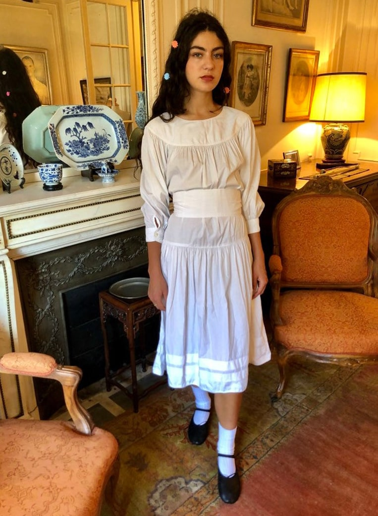 1970s Kenzo white cotton midi dress, puffy sleeves : small - medium
