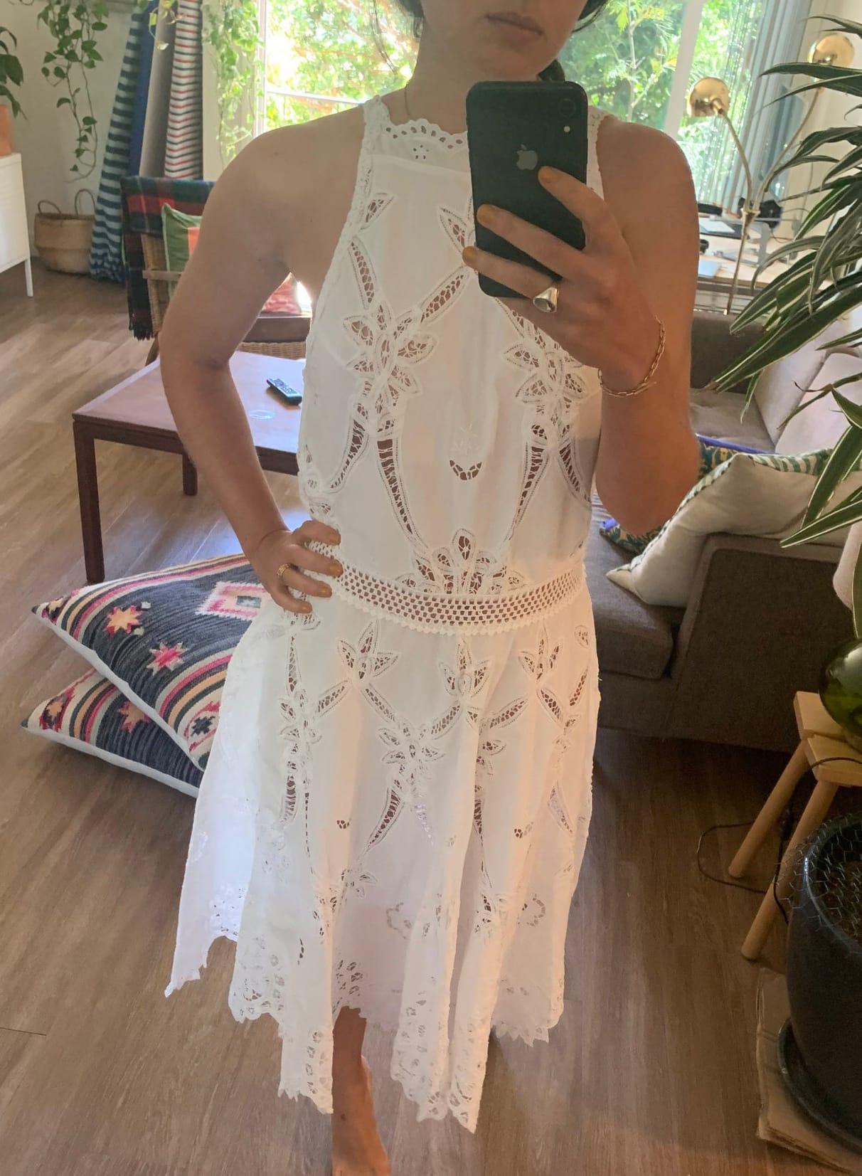 80's Vintage Lim's Antique Battenberg Lace & Hand Embroidery White Midi Dress - Antique Lace wedding Dress - Size M