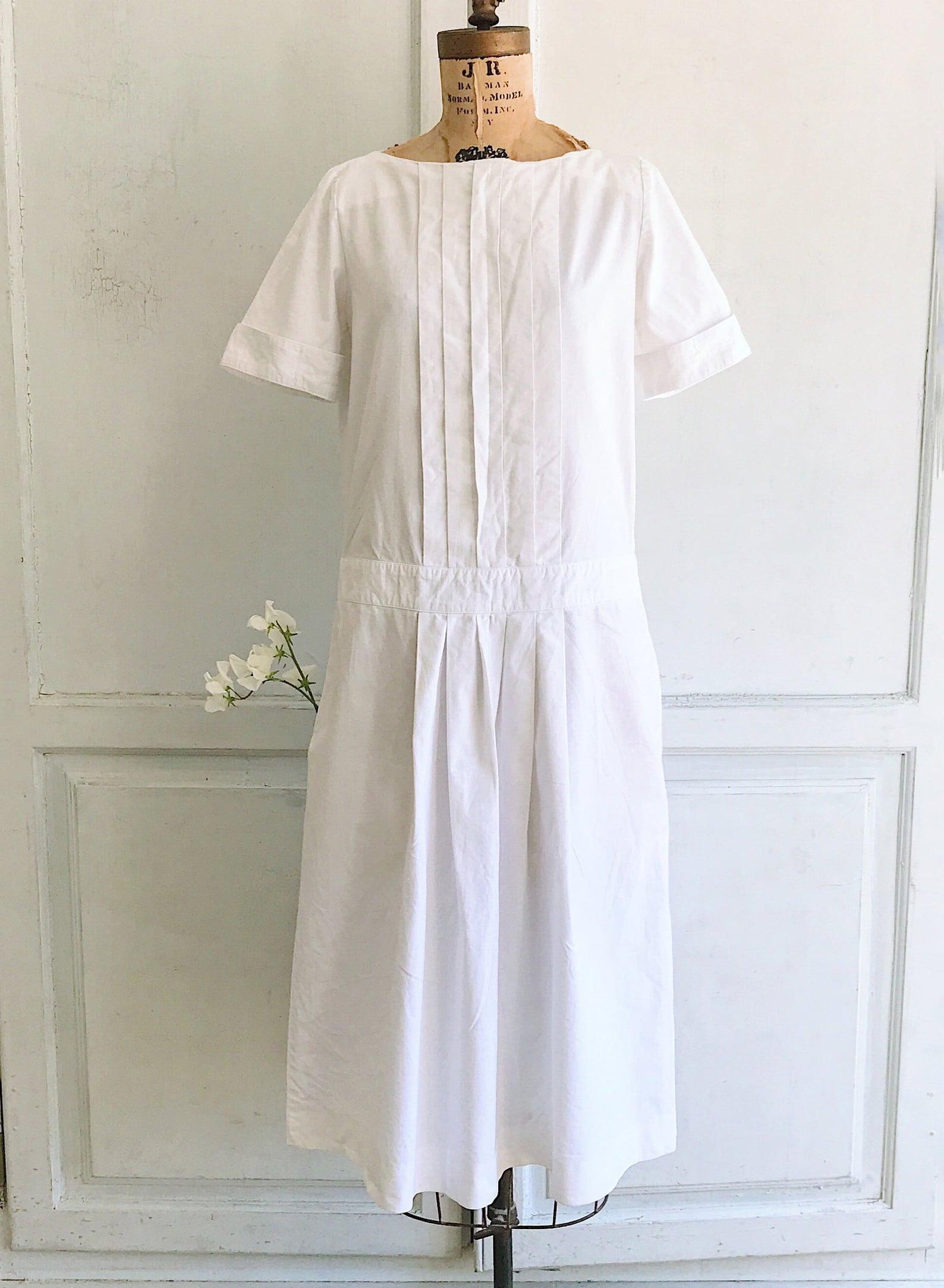 80s vintage Laura Ashley dress white cotton sun dress