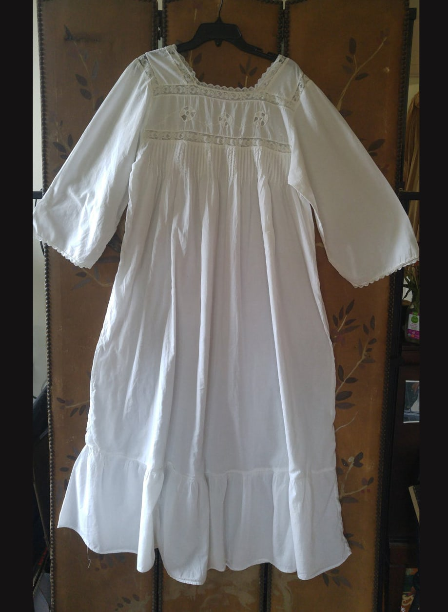 80's white cotton 20's style maxi eyelet and lace detail peasant : boho : country dress by Saybury II