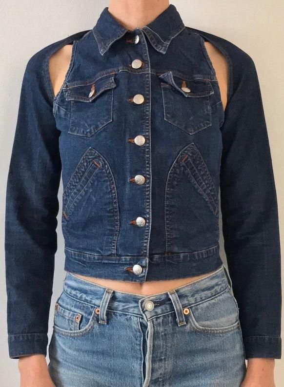 90s Jean Paul Gaultier Club Kid Denim Shrug And Vest Jacket