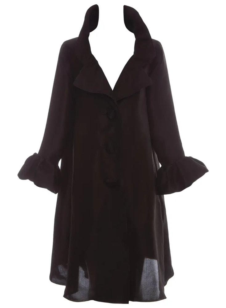 Alber Elbaz for Lanvin Black Silk Lightweight Evening Coat, Fall 2006