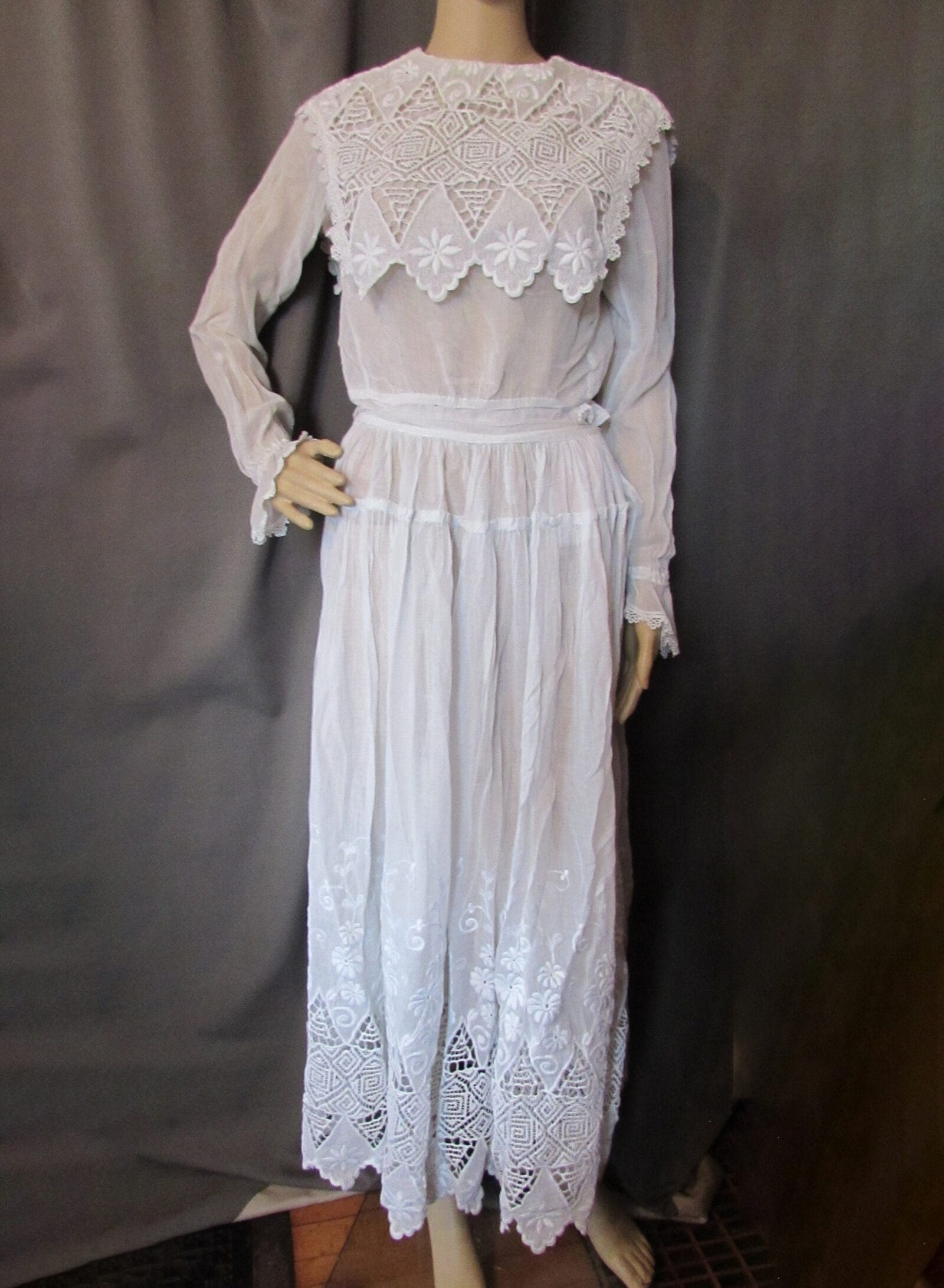 Edwardian Era White Summer Dress Broderie Anglaise Embroidery Whitework Cut Work Embroidery Borders Vintage Fashions Antique Clothing