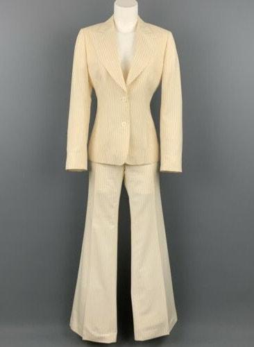 GUCCI Size US 6 _ IT 42 Cream & Navy Pinstripe Wool Wide Leg Pants Suit