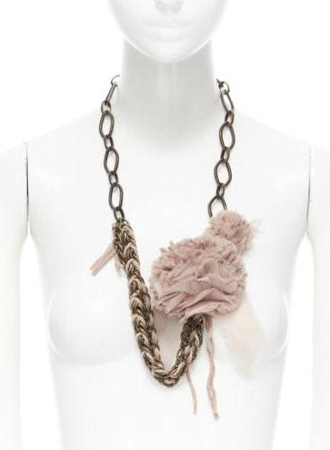 LANVIN ALBER ELBAZ gunmetal metal braided chunky chain silk floral necklace _ eBay