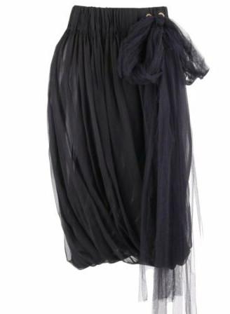 LANVIN S_S 2006 Black Semi Sheer Silk Chiffon Tulle Tie Pleated Bubble Skirt _ eBay