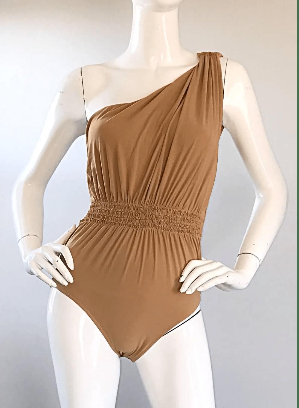 Lanvin 2011 Alber Elbaz Tan Caramel One Shoulder Grecian Bodysuit or Swimsuit