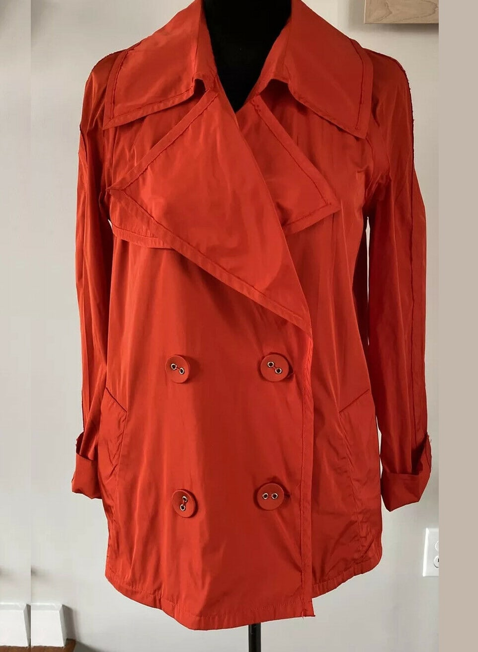 Lanvin Ete 2004, Red Rain Coat, Double Breasted, Size 38