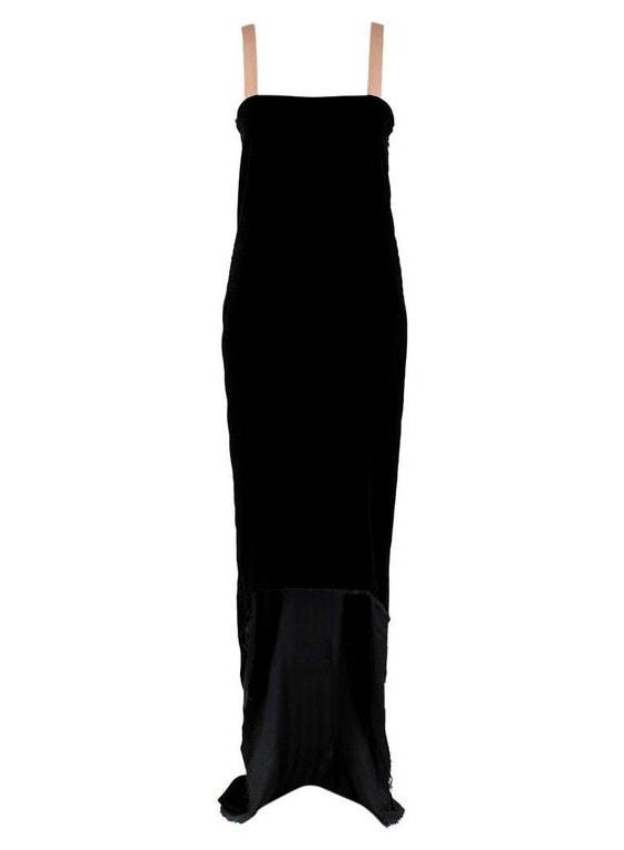 Lanvin by Alber Elbaz Black Velour Asymmetric Dress - Size US 4