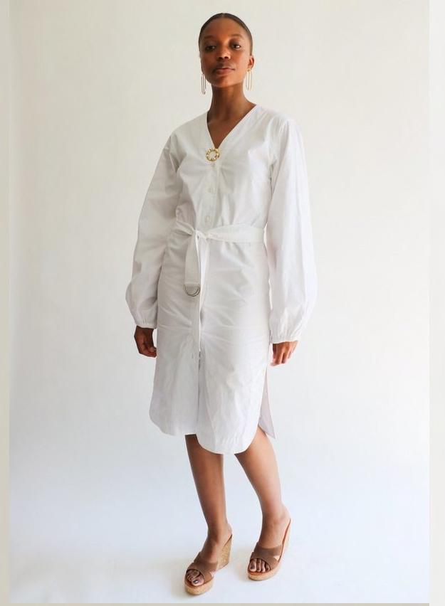 [Pre-loved] Elizabeth & James Cotton Poplin Belted Midi Dress on Garmentory