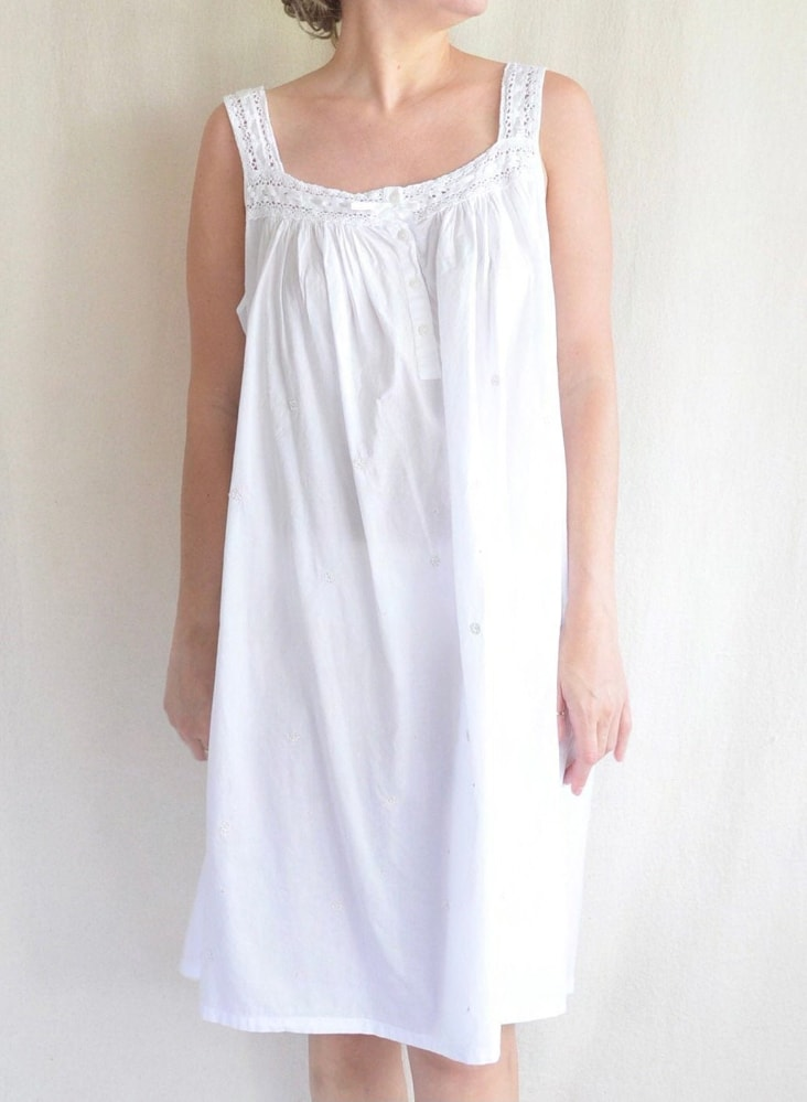 Soft and flowy white cotton baby doll nighty