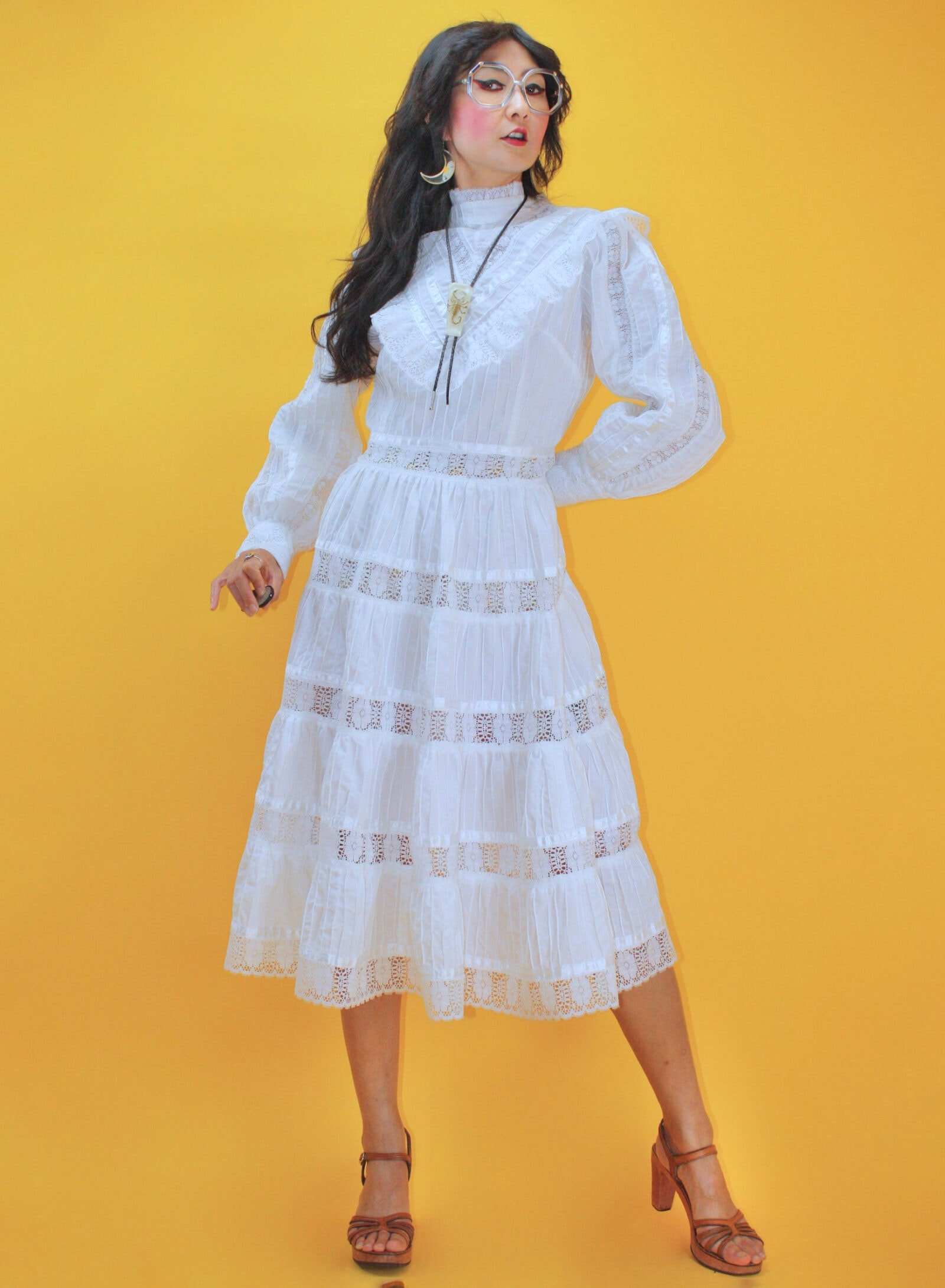 Vintage 1970s Victorian style Mexican Wedding Dress :SZ M waist 29: 70s 80s Crochet Lace Ruffle Puff Sleeve White Cotton Pintuck Gown Boho