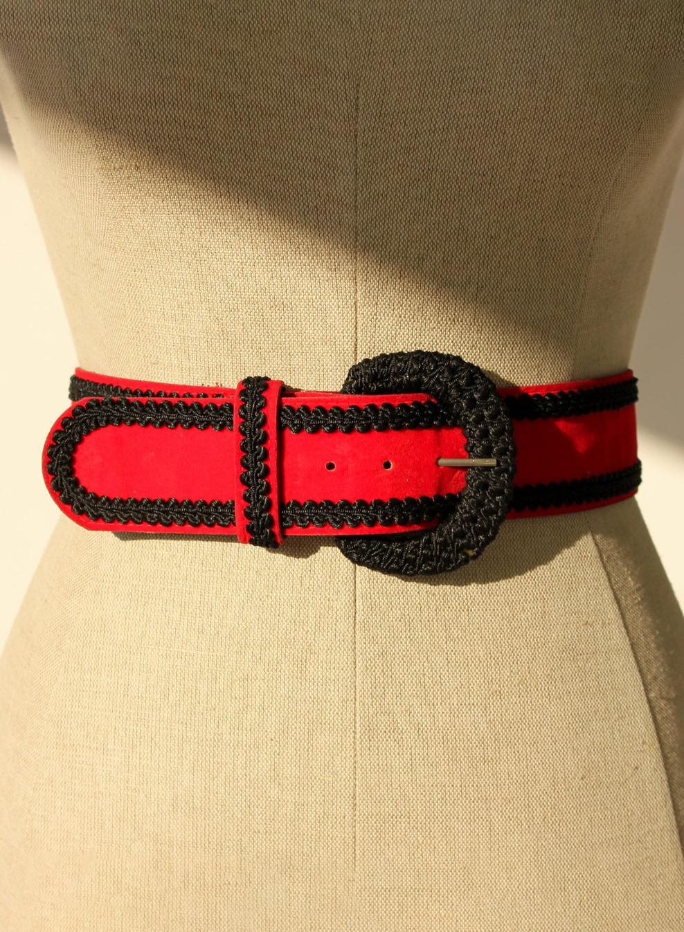 Vintage 80s 90s Red Velvet Belt with Black Braided Trim | Western, Prairie, Bohemian, Boho | 1980s 1990s Designer Velvet Waist Belt