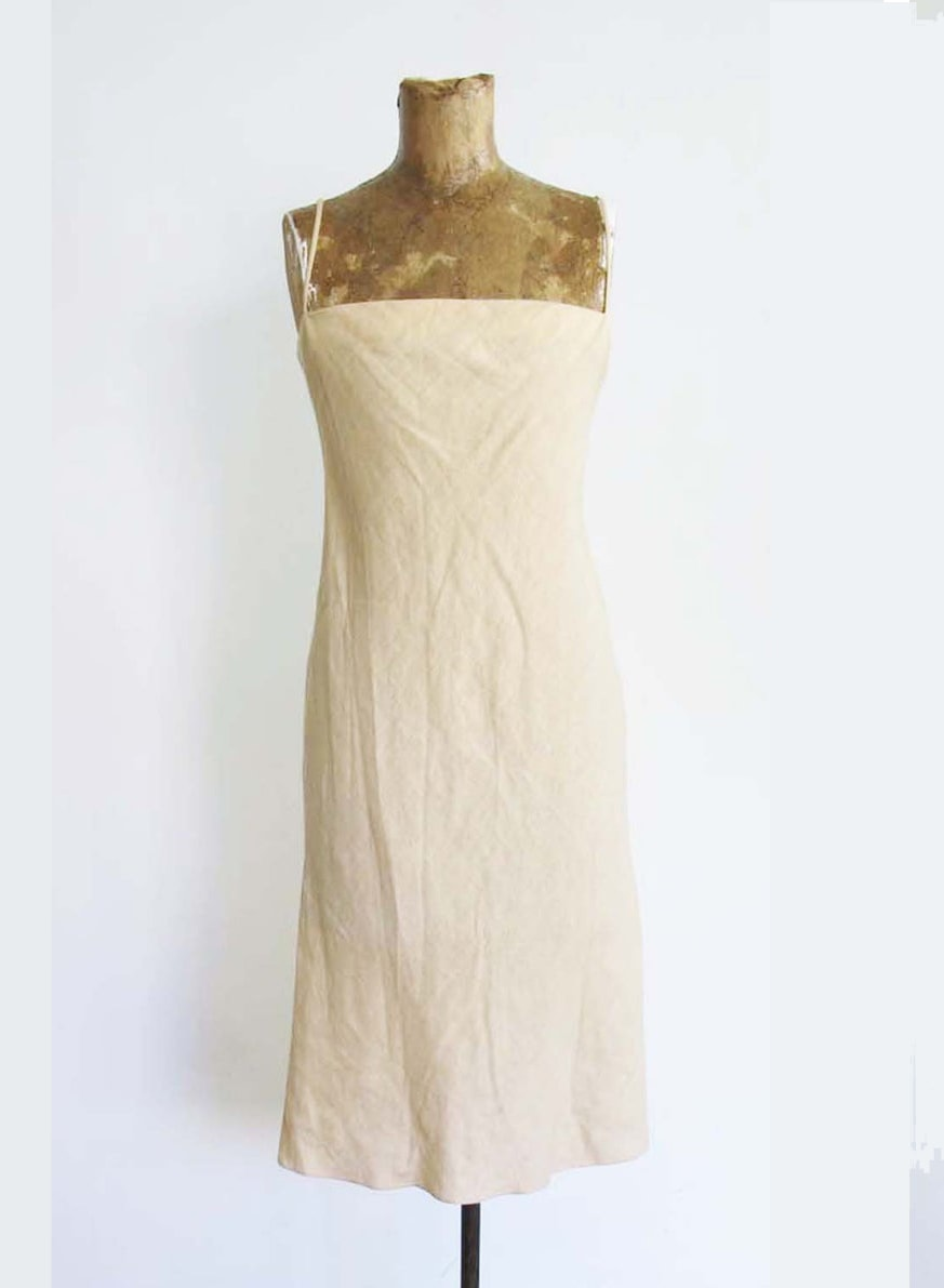 Vintage 90s Linen Sheath Dress S - Beige Off White Spaghetti Strap Dress - Minimalist 2000s Linen Sheath Sundress - Ralph Lauren Sport