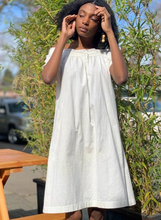 Vintage Antique Cotton Lace Dress - white on Garmentory