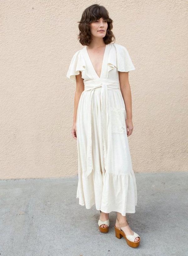 Vintage Doen Wrap Dress - Cream on Garmentory