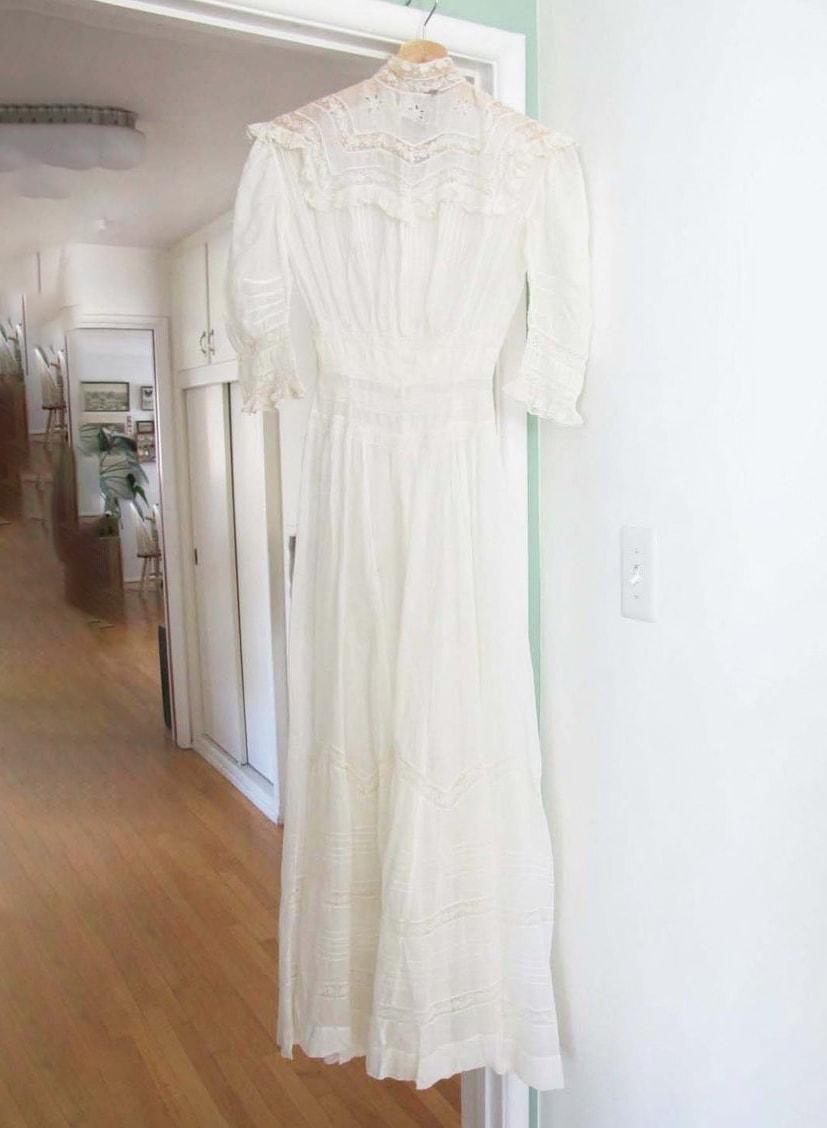 Vintage Edwardian Lawn Dress 20 Waist XXXS - White Lace Lawn Maxi Dress - 1900s Antique Voile Cotton Dress - For Study - Read Description