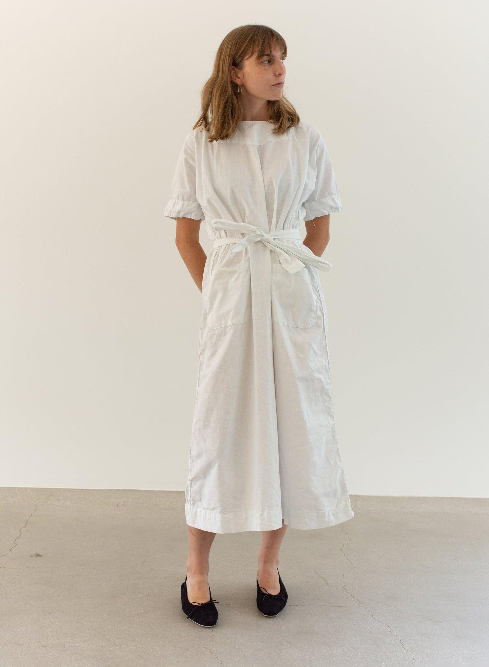 Vintage White Cotton Dress Snap Back Smock | Round Neck Nightgown Dress | Shift Dress Gown Slip | Vintage Workwear