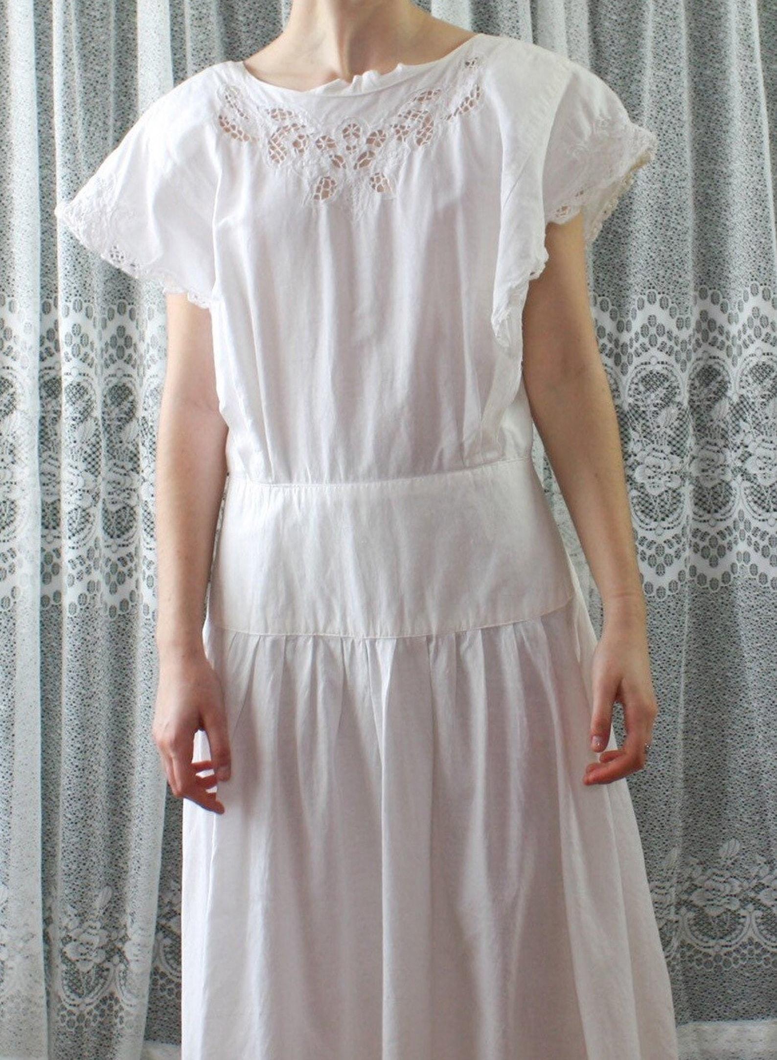 White 1980s Dress | Summer Dress | Vintage Dress | Cotton Dress | Vintage Cotton |