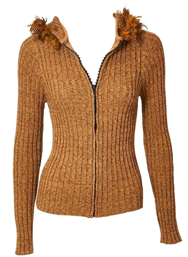 Yves Saint Laurent Hooded Cardigan with Feather Detail