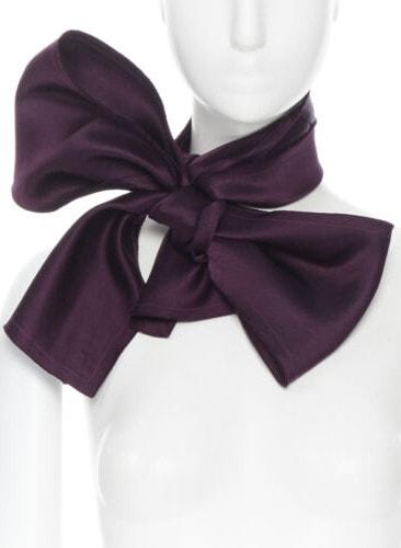 new LANVIN ALBER ELBAZ purple silk raw cut edge rectangular scarf bow