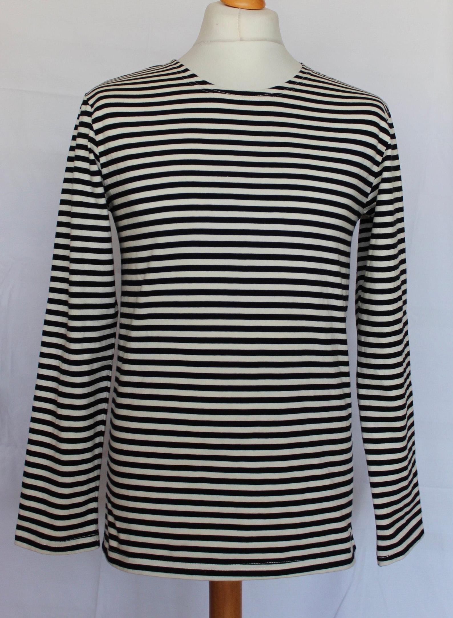 Black and White, Long Sleeve, 100% Woven Cotton, Marine Breton, Unisex Sailors Shirt, S:M:L:XL,