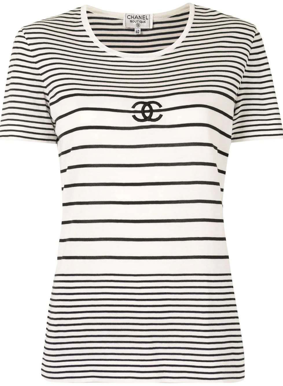 Chanel Pre-Owned CC striped knitted top