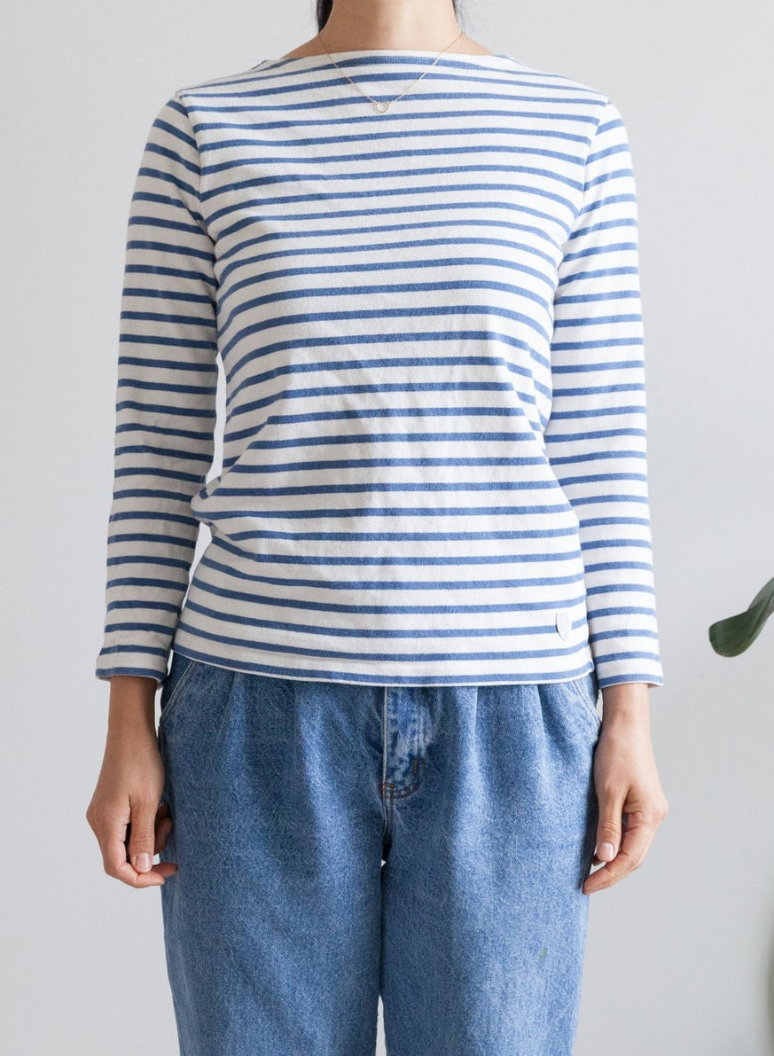 French Breton blue white striped cotton long sleeve : quality thick cotton: boat neck : fitted : size 2
