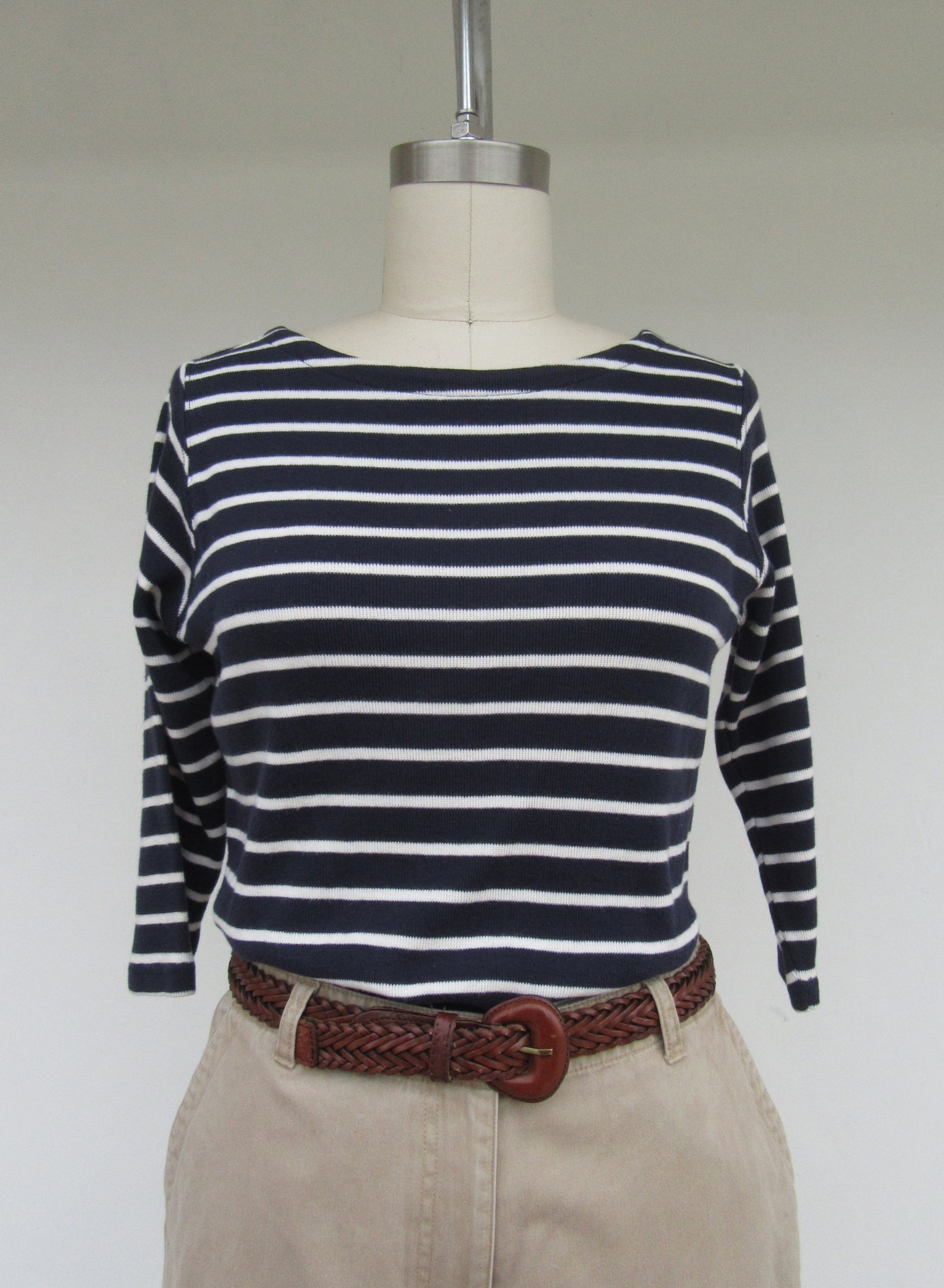 LL Bean 90s Striped Navy and White Cotton Long Sleeve Shirt | Minimal Cotton Striped Long Sleeve Top | M