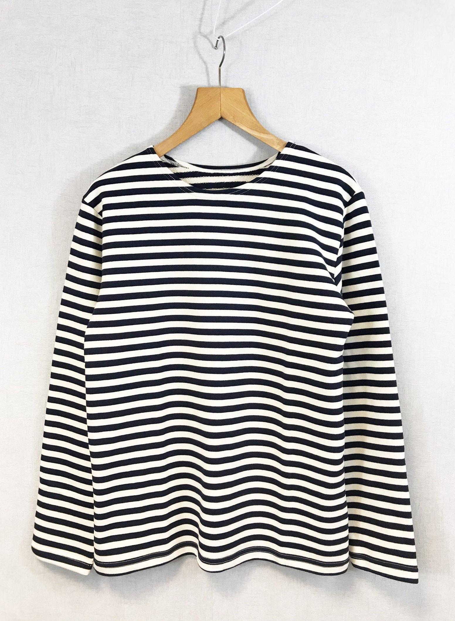 Stripe Breton Top Cotton Sweatshirt Long Sleeve Navy & White Flannel - XS S M L XL 2XL 3XL
