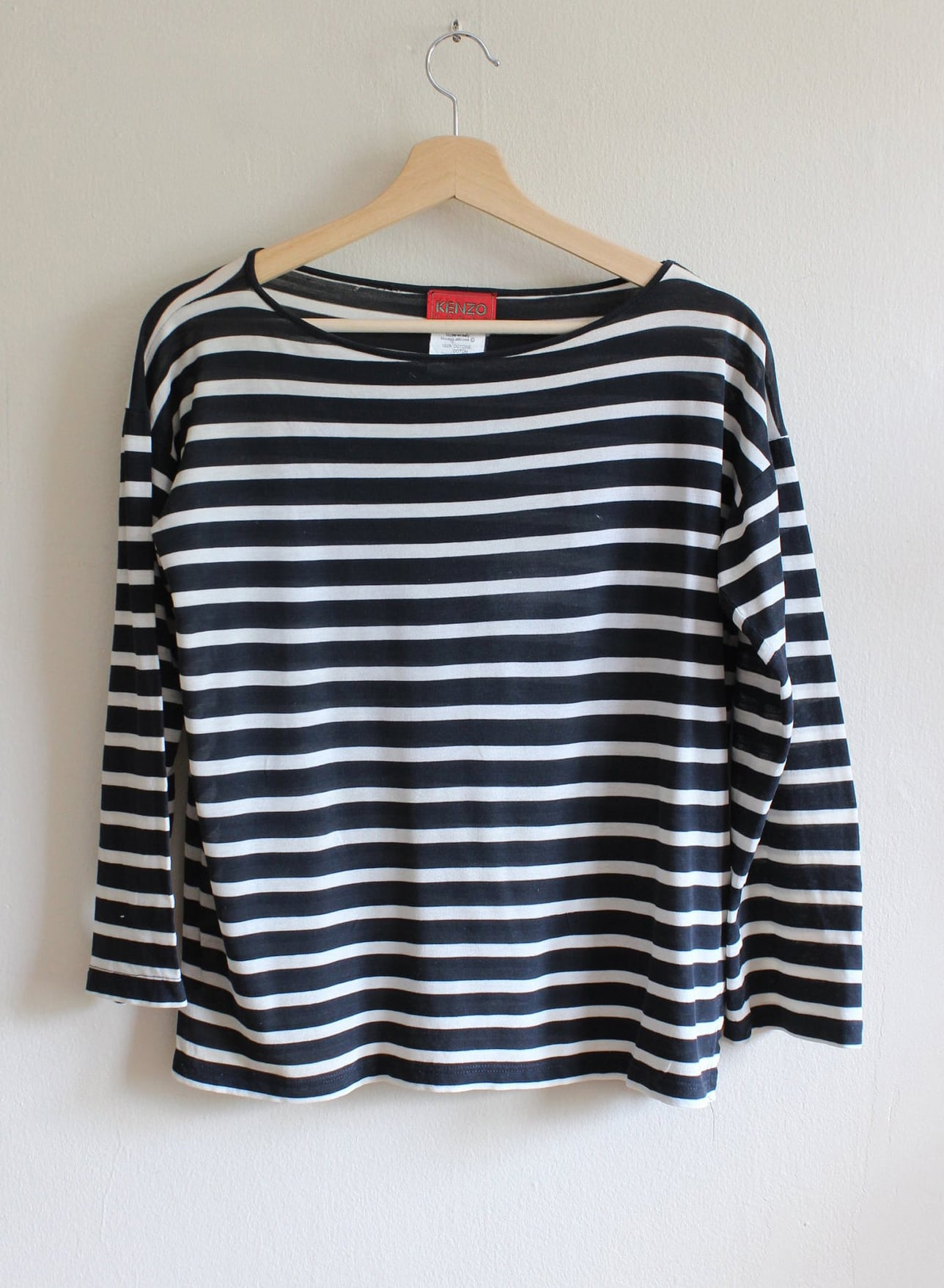 Vintage 1980s Sheer Black & White Stripe Kenzo Top
