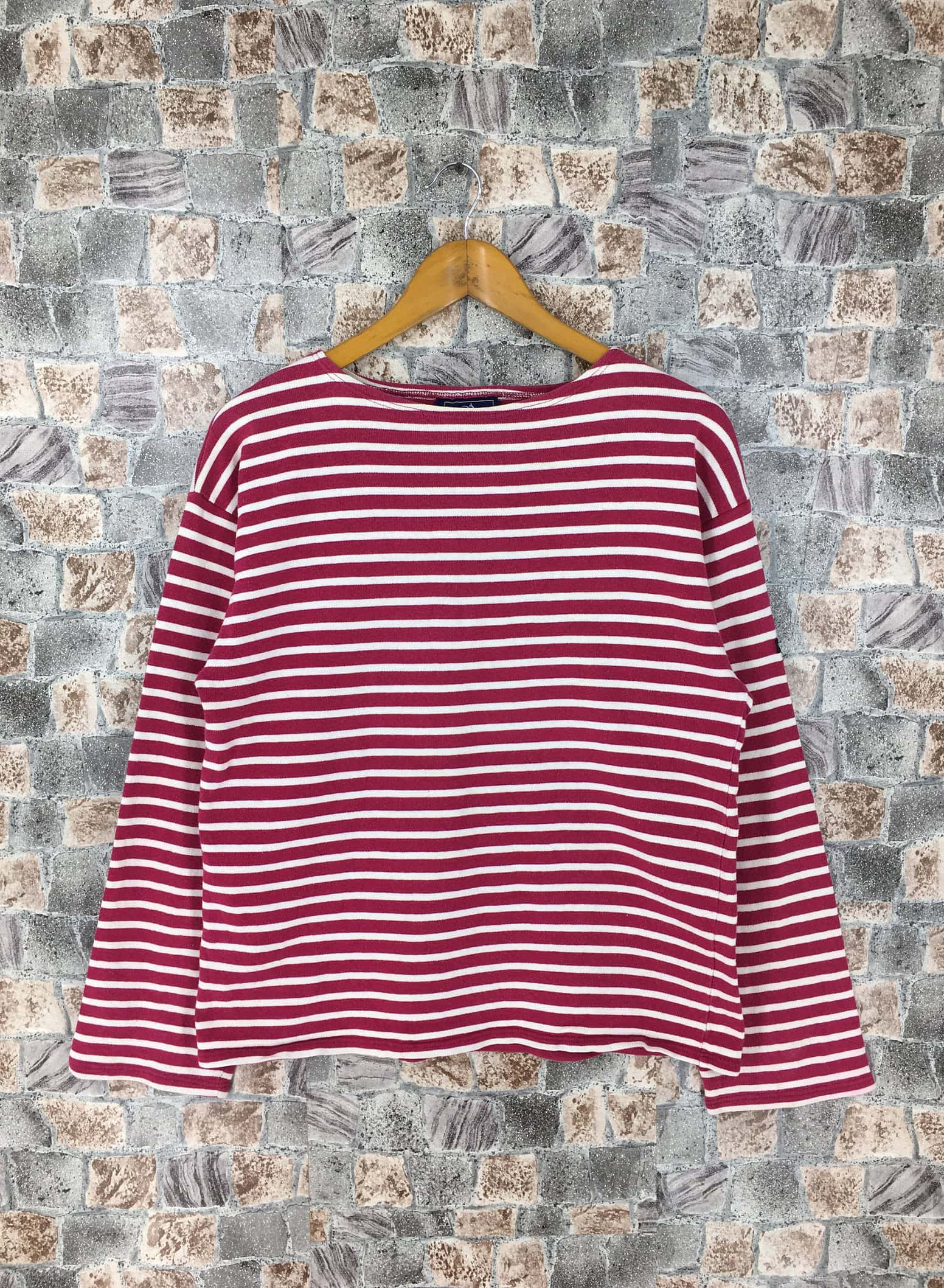 Vintage 90's Saint James France Stripes Shirt Small Stripes Border Red:White Striped Longsleeve Shirt Size S