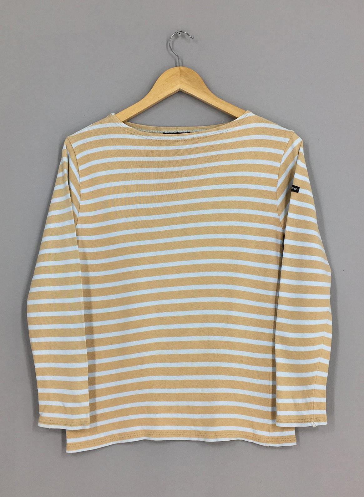 Vintage Saint James Jail Women Stripes Tshirt Small Border Striped Brown White Stripes Ladies Longsleeve Tshirt Size S