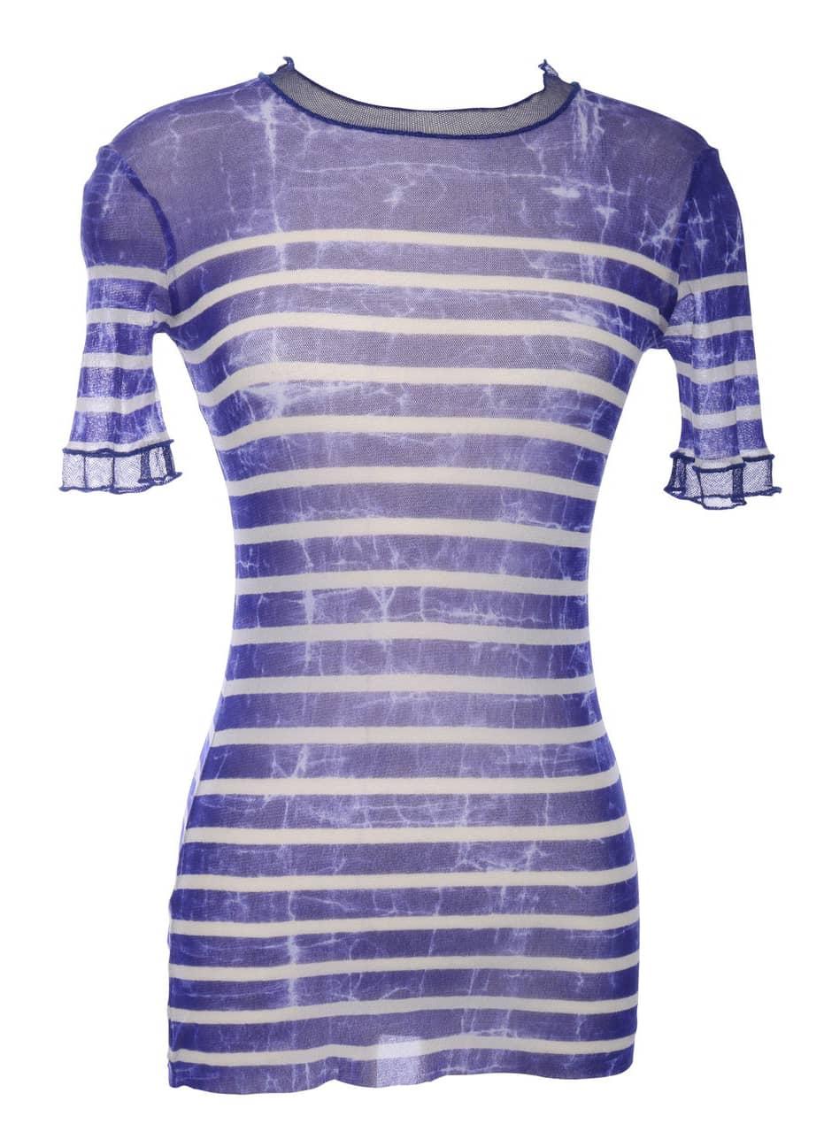 Vtg JEAN PAUL GAULTIER Maille Classique Mesh Brenton Stripe Sheer Tie Dye Shirt T shirt Top S M L