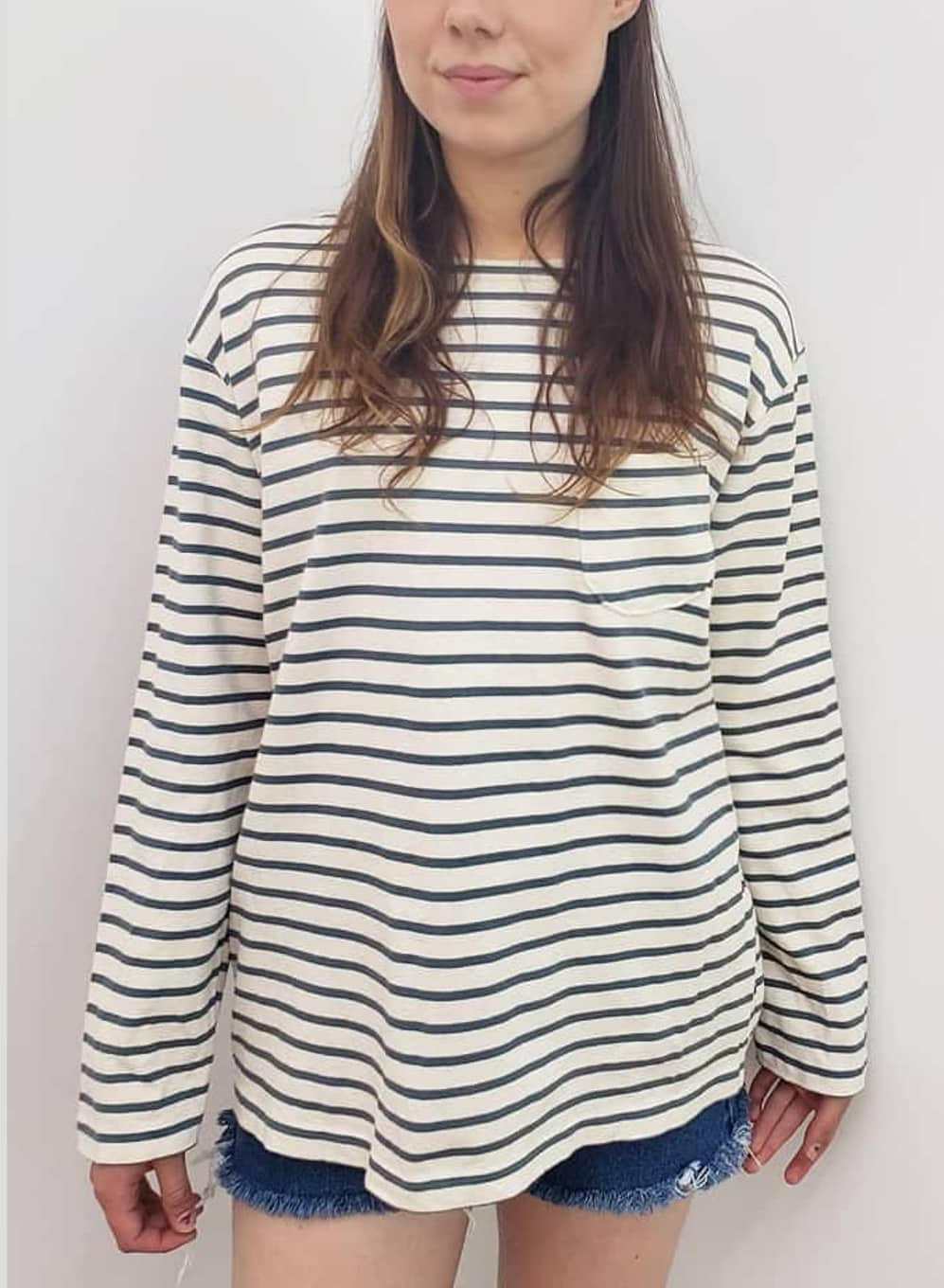 knit striped Breton french casual pullover sweater top Tokyo Japan sailor boat burgus plus neck