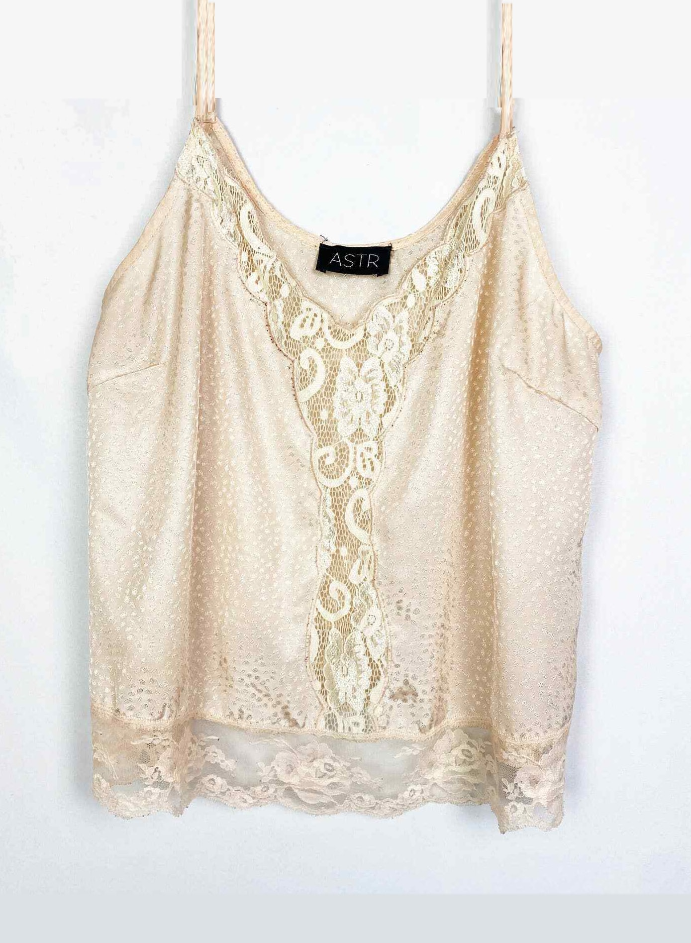 ASTR the Label Silk Lacy Camisole Tank Top Peach Cream Ivory Size Large