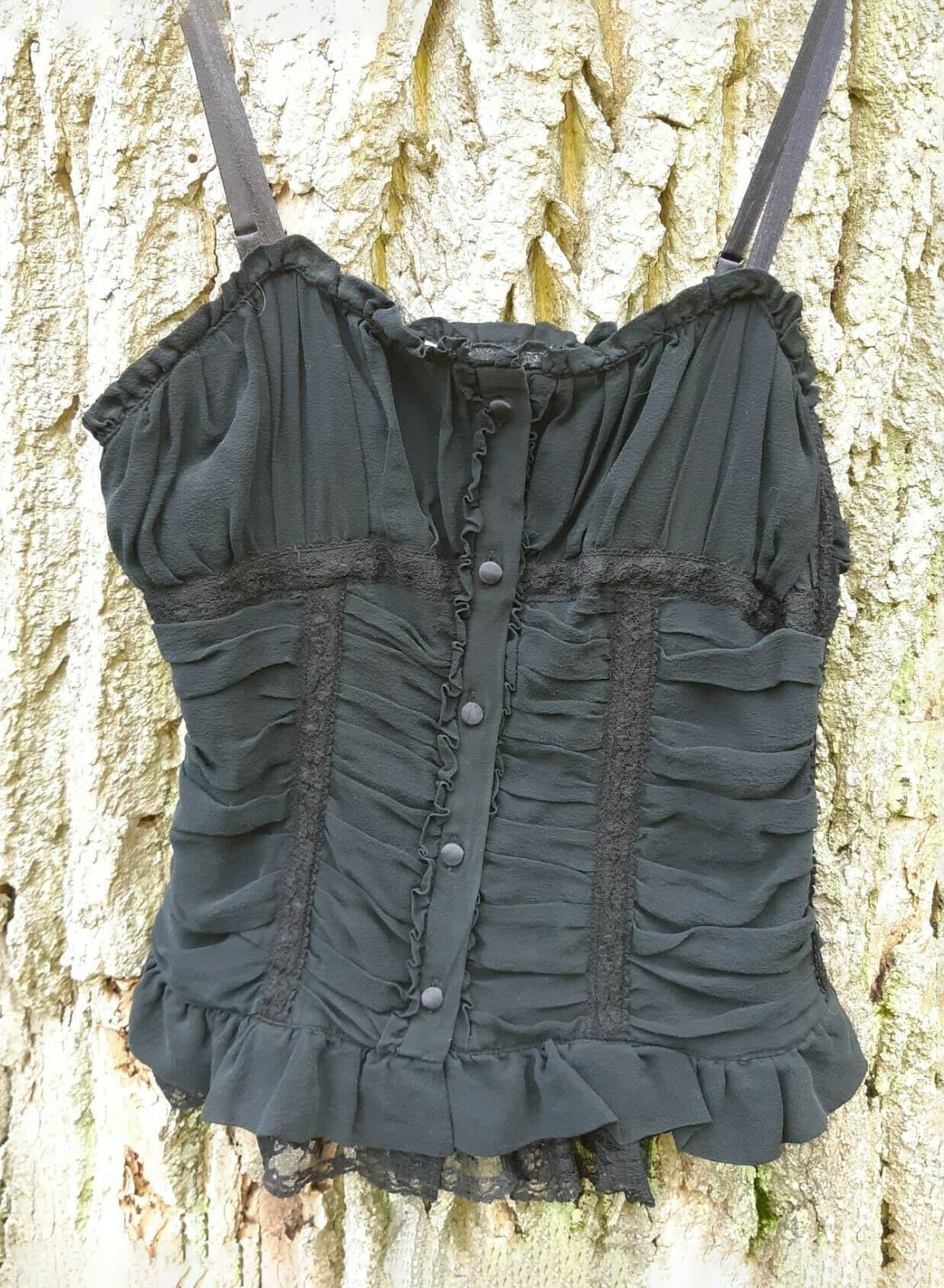 Black Silk Camisole Top S Summer Goth Victorian Rebecca Taylor Lace